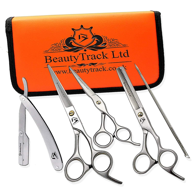 Set beauty track avec un coupe choux trois ciseaux de coiffure un aiguiseur et un etui